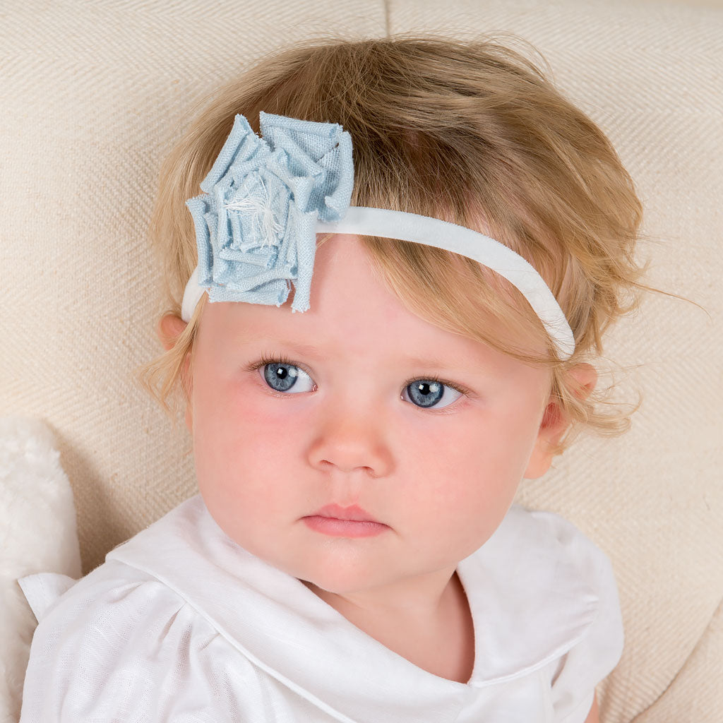 Olivia Blue Linen Flower Headband