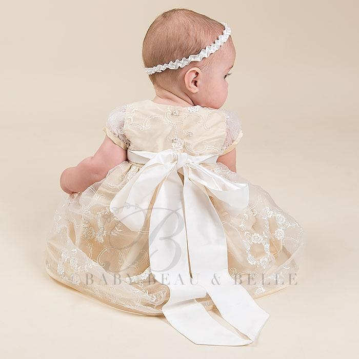 Fiona Gold Dress and Headband - Girls Christening Dress