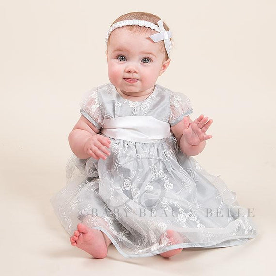 Fiona Silver Dress and Headband - Girls Christening Dress