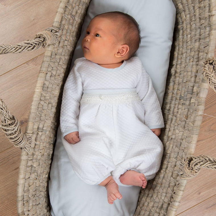Harrison Newborn Jumpsuit & Bonnet | Quilted Cotton