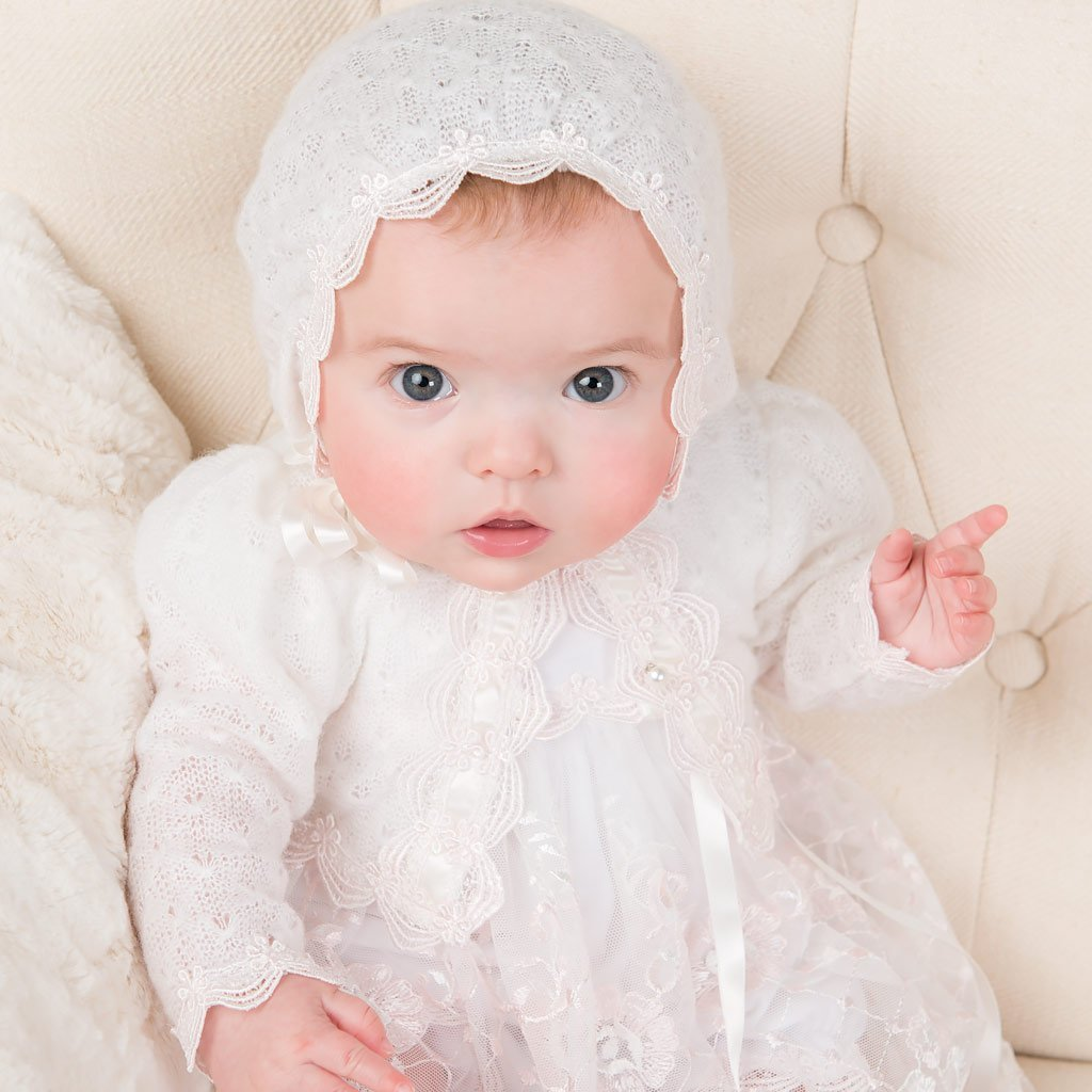 Girls Christening Sweater - Joli Knit Christening Sweater