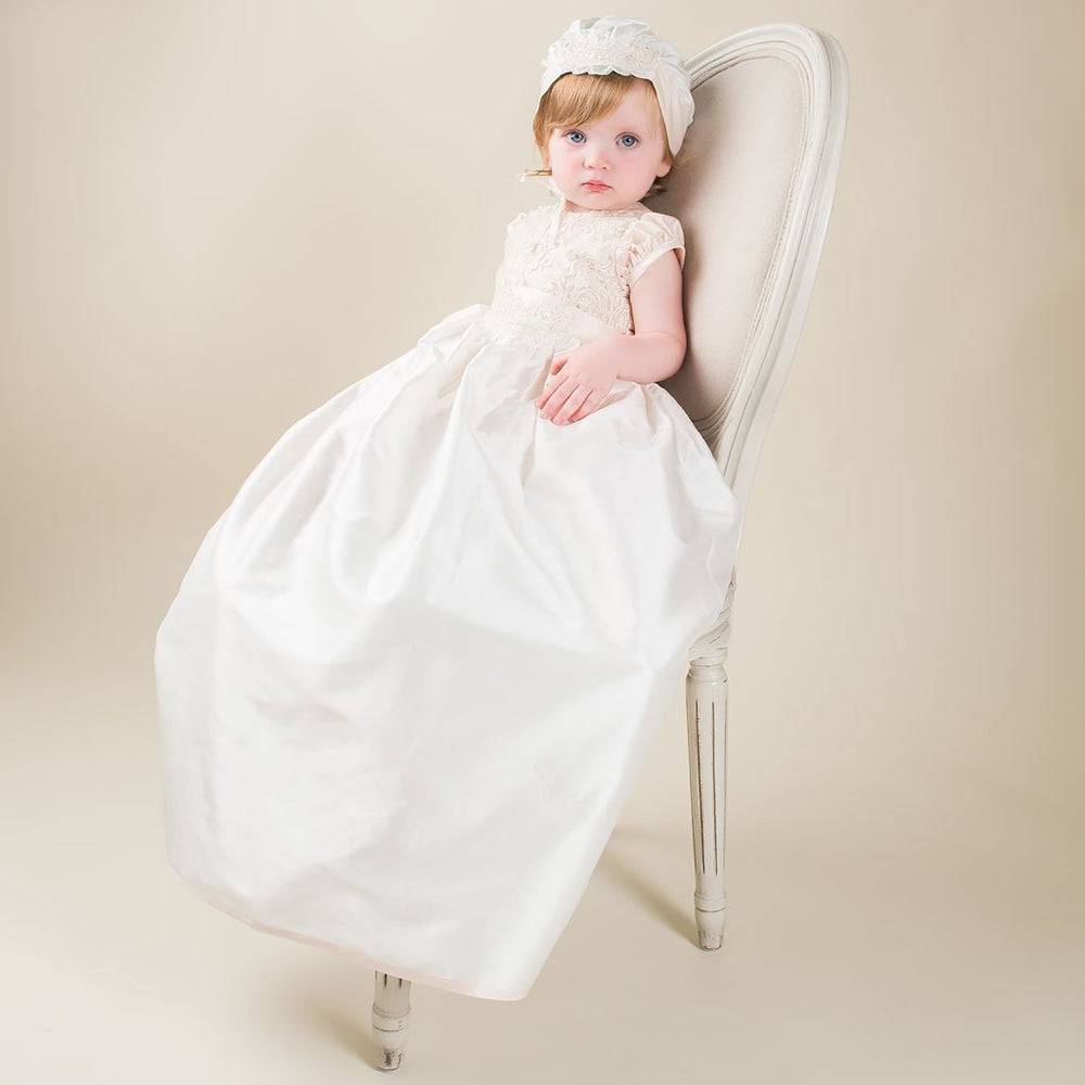 Tessa Convertible Silk Christening Gown Set - Girls Christening Gown