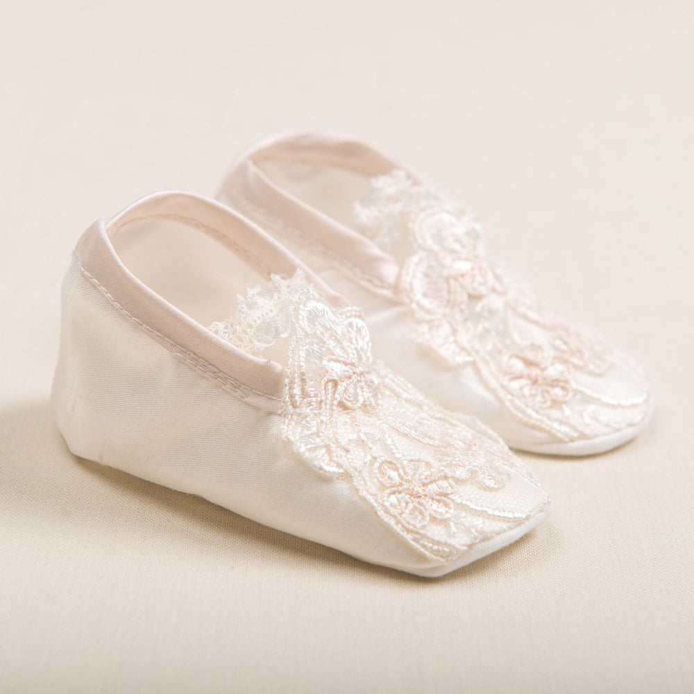 Tessa Silk Christening Booties -