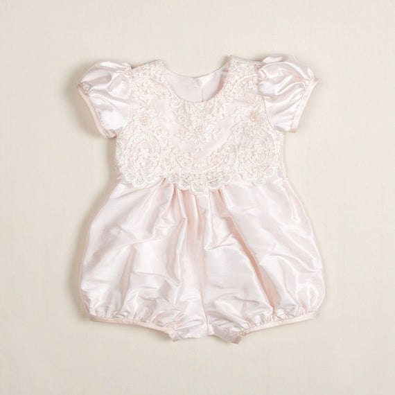 Tessa Silk Christening Bubble Romper - Girls Jumpsuit