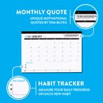 "Impact 2020 Calendar - Desk or Wall Style - Habit Tracker, Monthly Book Picks & Motivational Quotes - 11"" by 17"""