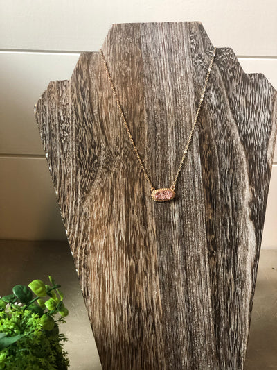 Druzy Stone Necklace- Copper