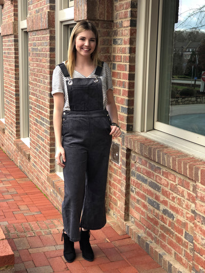 Wide Pant Cord Overalls