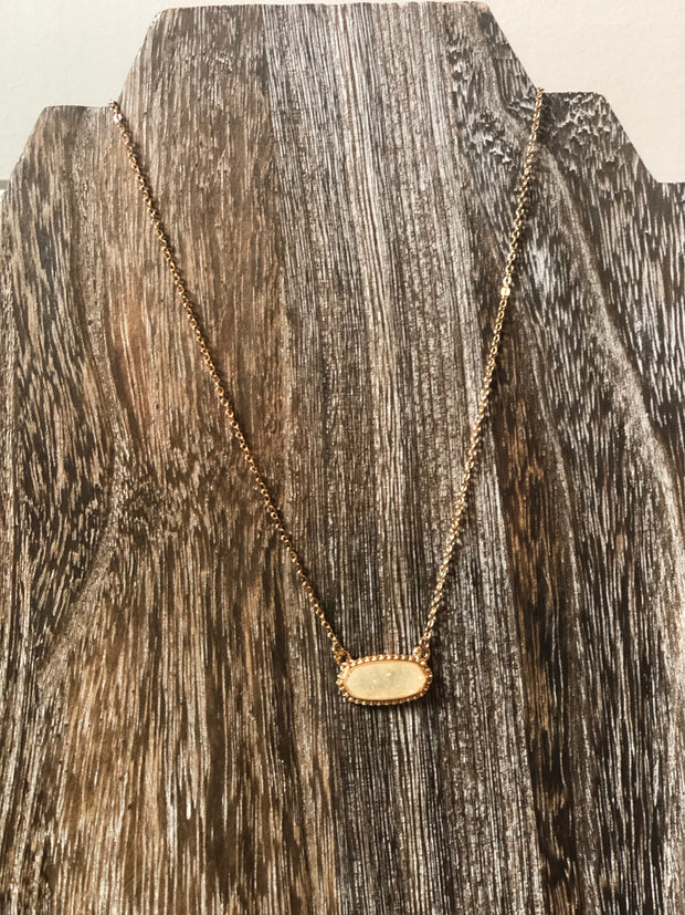 Druzy Stone Necklace- Ivory