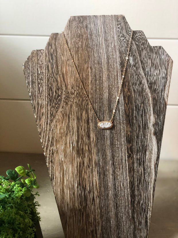 Druzy Stone Necklace- Silver