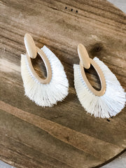 Fringe Drop Earrings- Ivory
