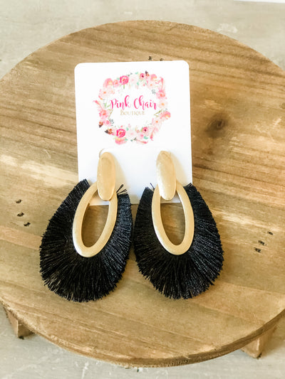 Fringe Drop Earrings- Black
