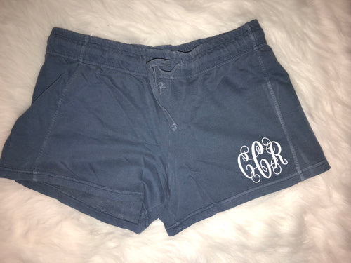 Comfort color monogrammed shorts