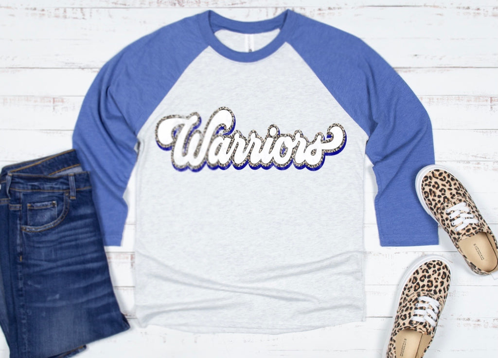 Warriors leopard script tee