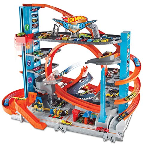 Hot Wheels FTB69 - City Garage with Loops and Shark - Full set up with cars