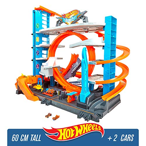 Hot Wheels FTB69 - City Garage with Loops and Shark assembled