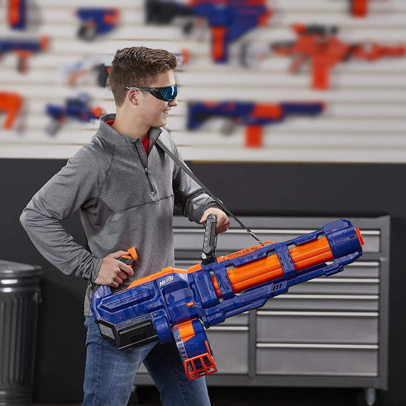 Nerf Elite Titan CS-50 child holding blaster