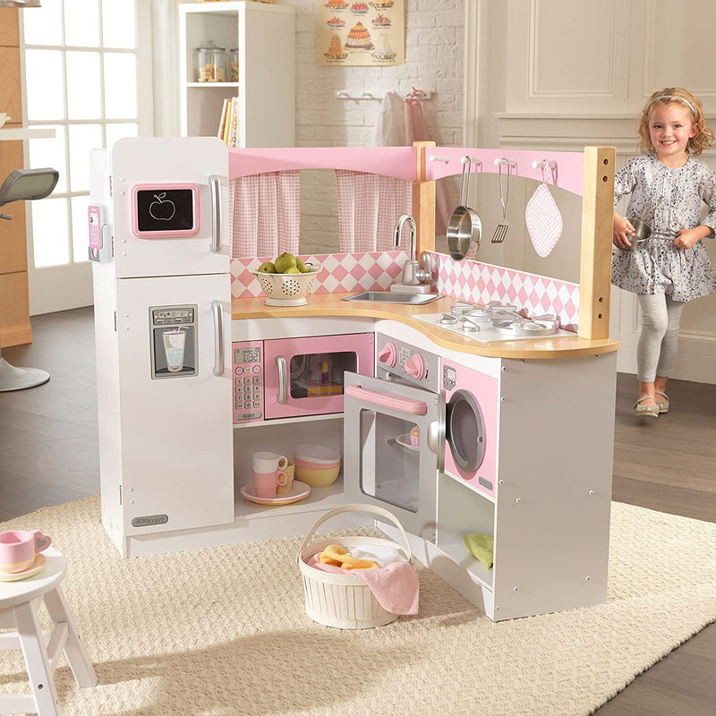 KidKraft Grand Gourmet Corner Kitchen full layout with child