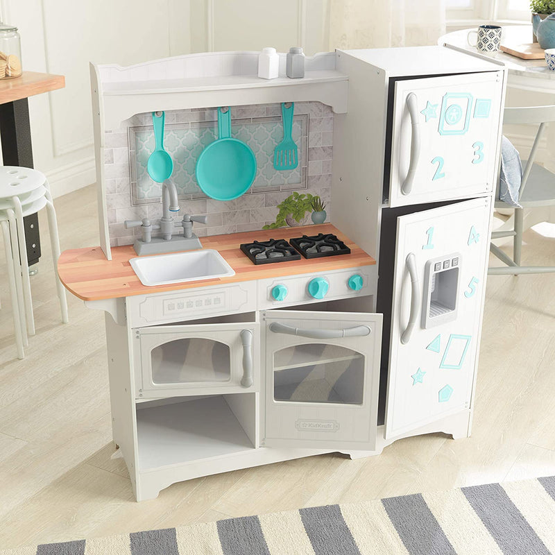 KidKraft Countryside Play Kitchen open cupboards