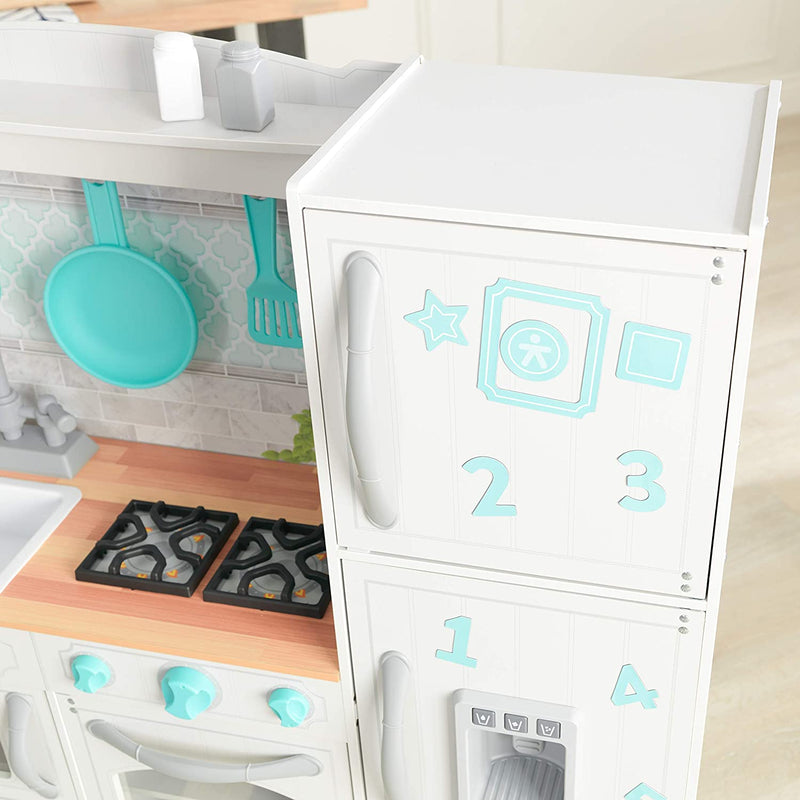 KidKraft Countryside Play Kitchen freezer and hob view