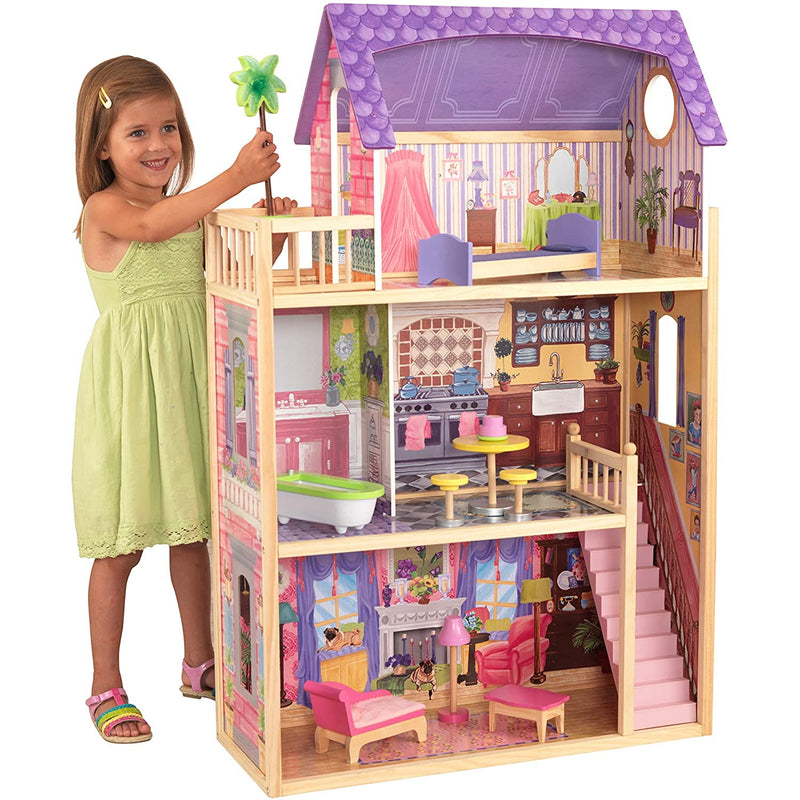 KidKraft Kayla Wooden Dolls House with child playing