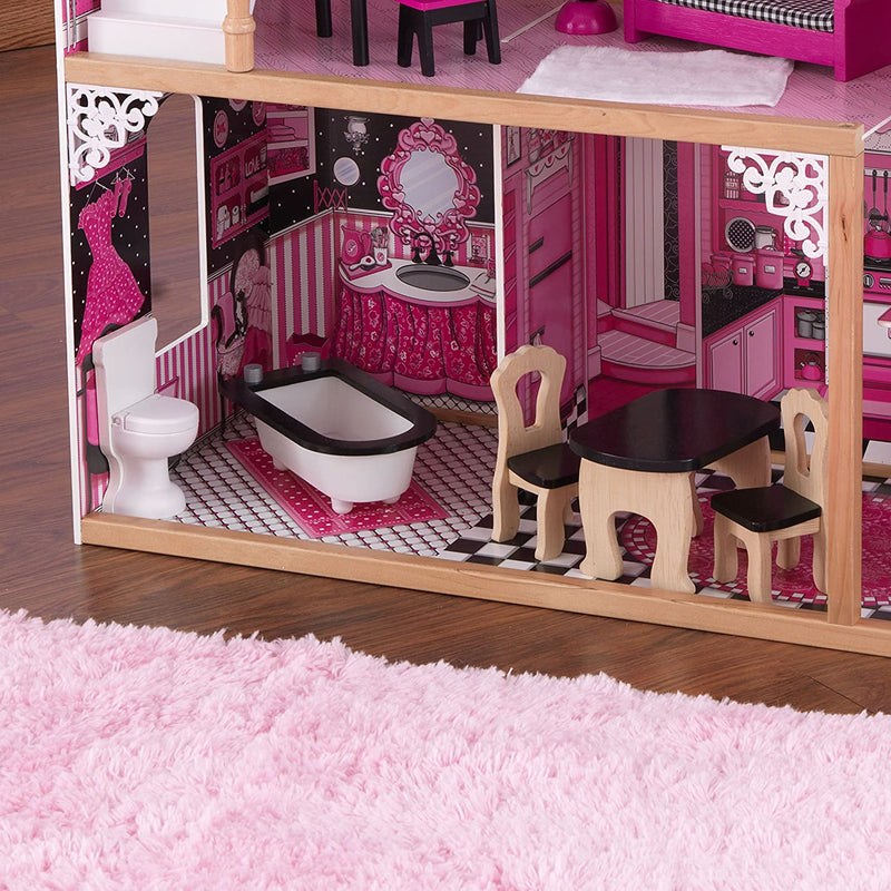 KidKraft Amelia Wooden Dolls House downstairs kitchen and bathroom