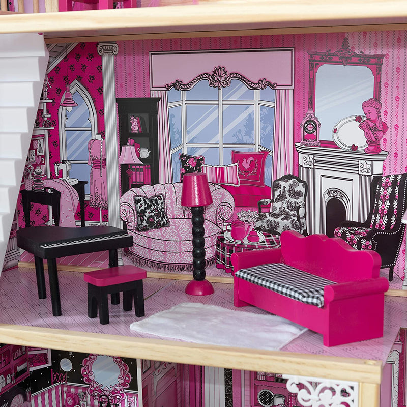 KidKraft Amelia Wooden Dolls House lounge and furniture