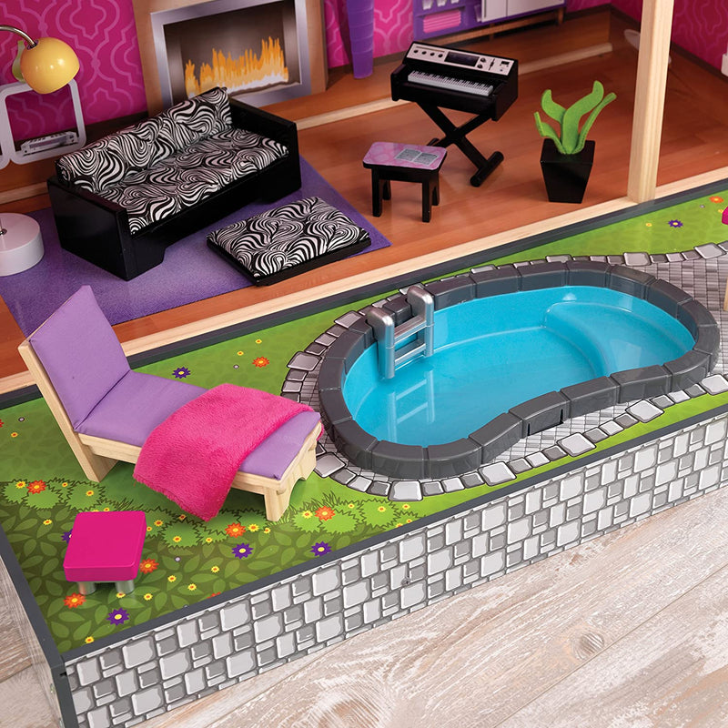 KidKraft Uptown Wooden Mansion garden pool