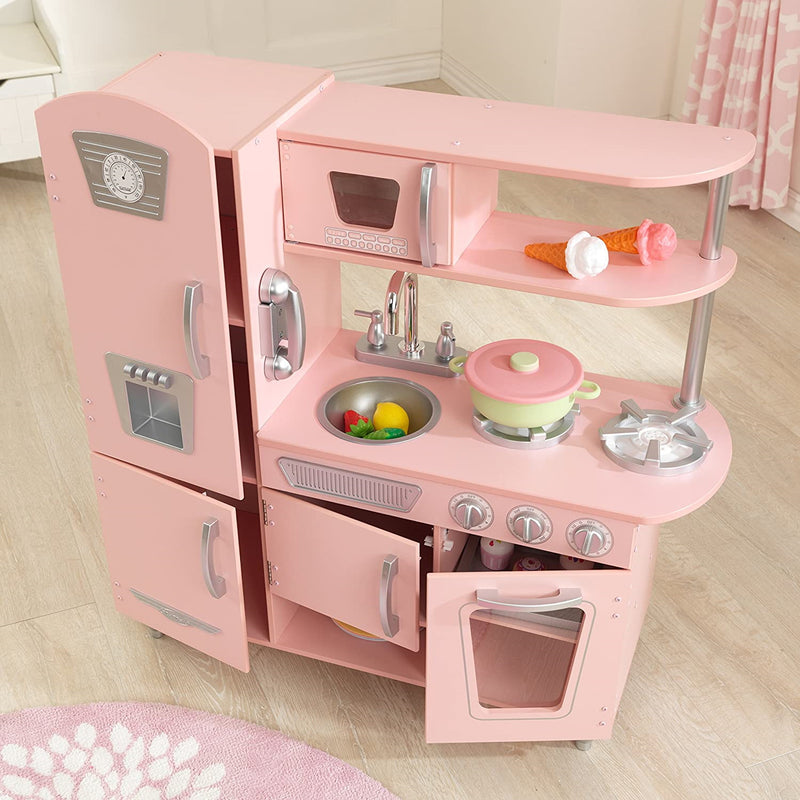 KidKraft Pink Vintage Kitchen open cupboards