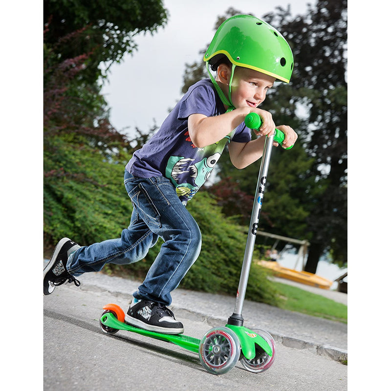 Micro Mini Scooter Green with child