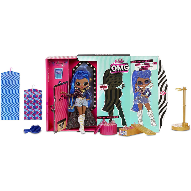 O.M.G. Miss Independent Fashion Doll - full layout of doll and accessories