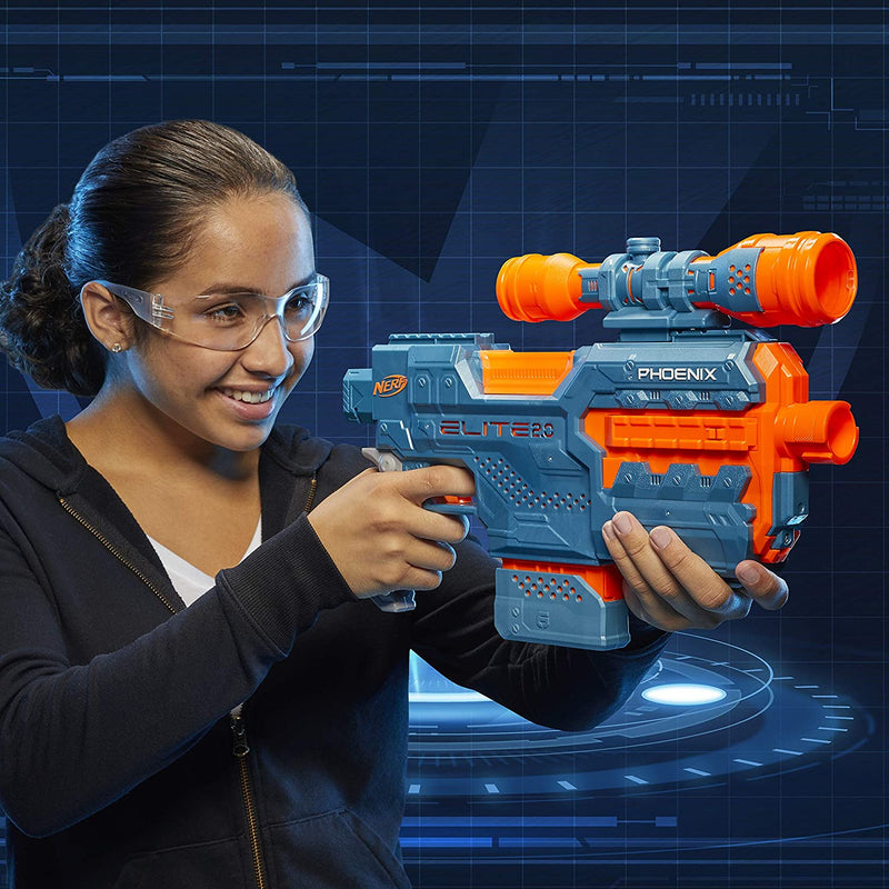 Nerf Elite 2.0 Phoenix child aiming blaster