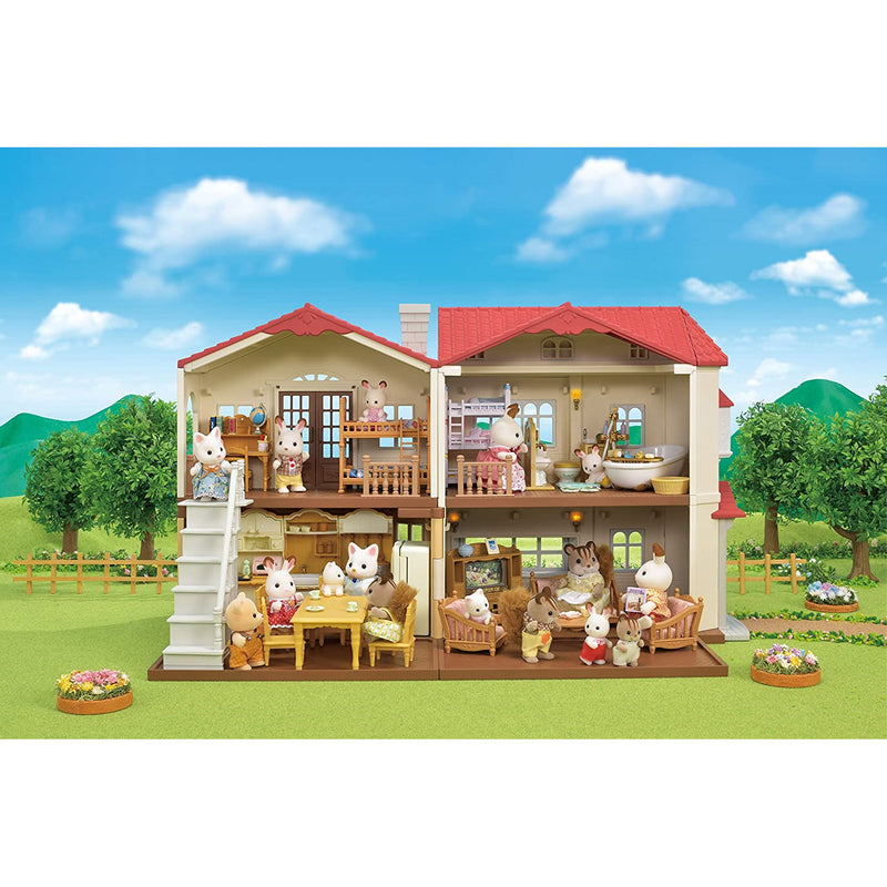Sylvanian Families 5480 Red Roof Country Home full set up with family
