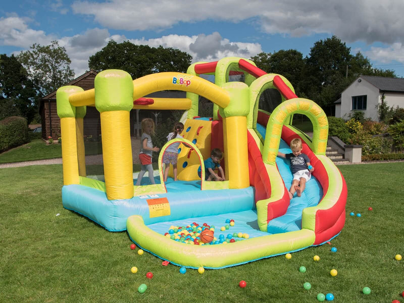 Bebop 8 in 1 inflatable bouncy castle with kids