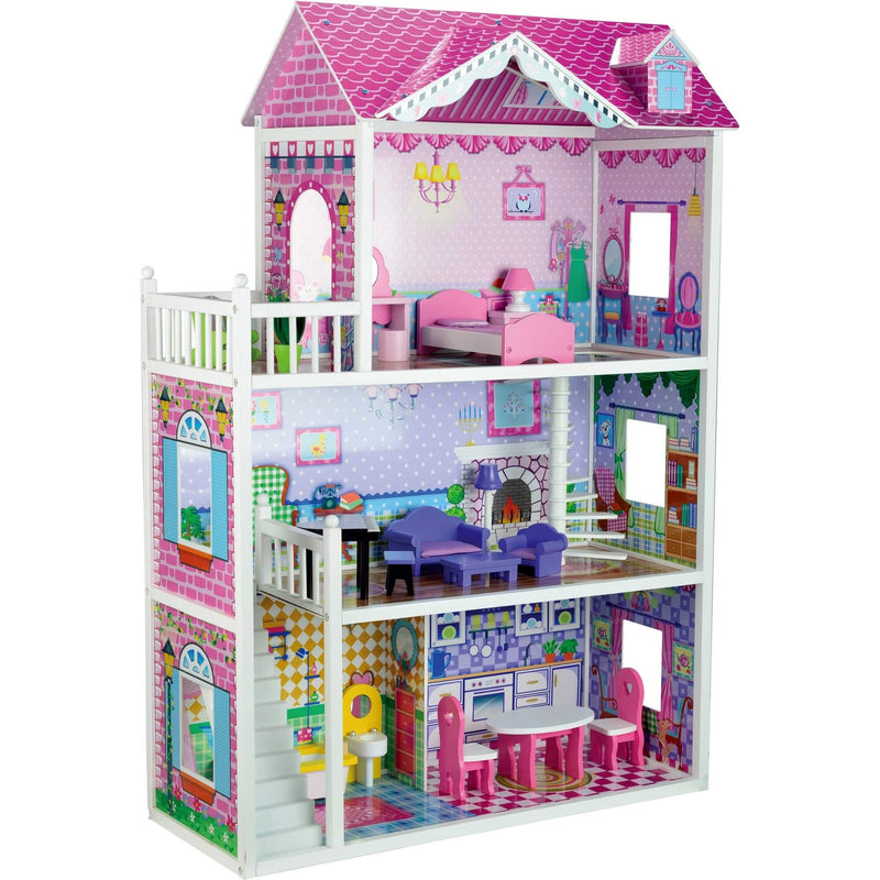 butternut pink large mansion wooden dolls house toyz world