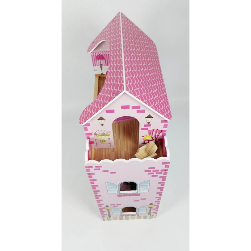 Butternut Kids 3 Storey Dolls House With Balcony And Furniture