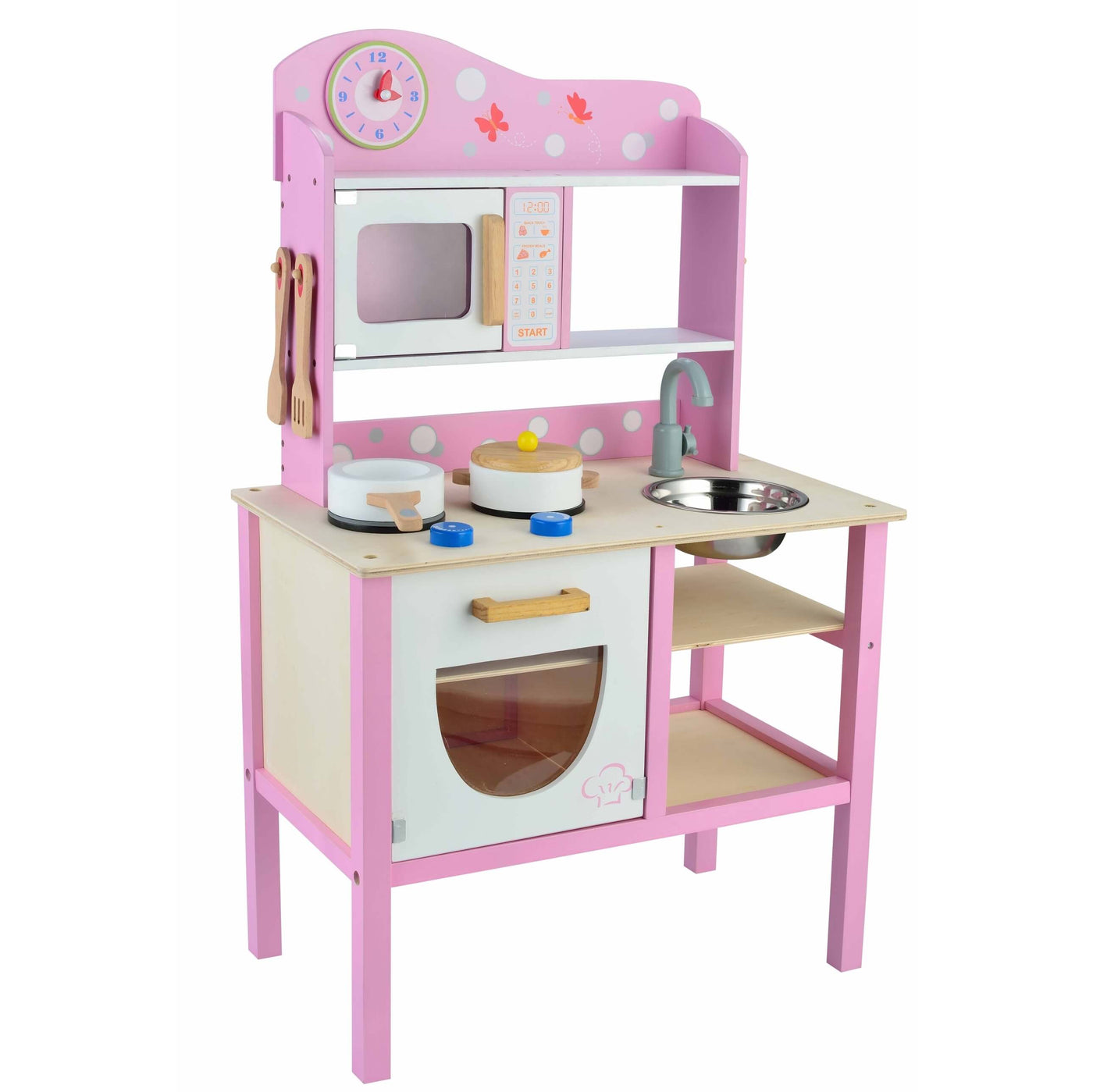 Butternut pink wooden kids play kitchen set with for Kitchen set toys divisoria