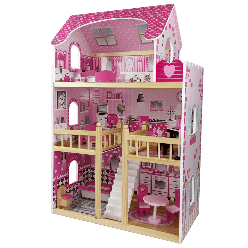 Butternut 3 Storey Dolls House With Furniture