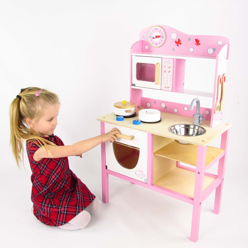 Butternut Pink Wooden Kids Play Kitchen Set With
