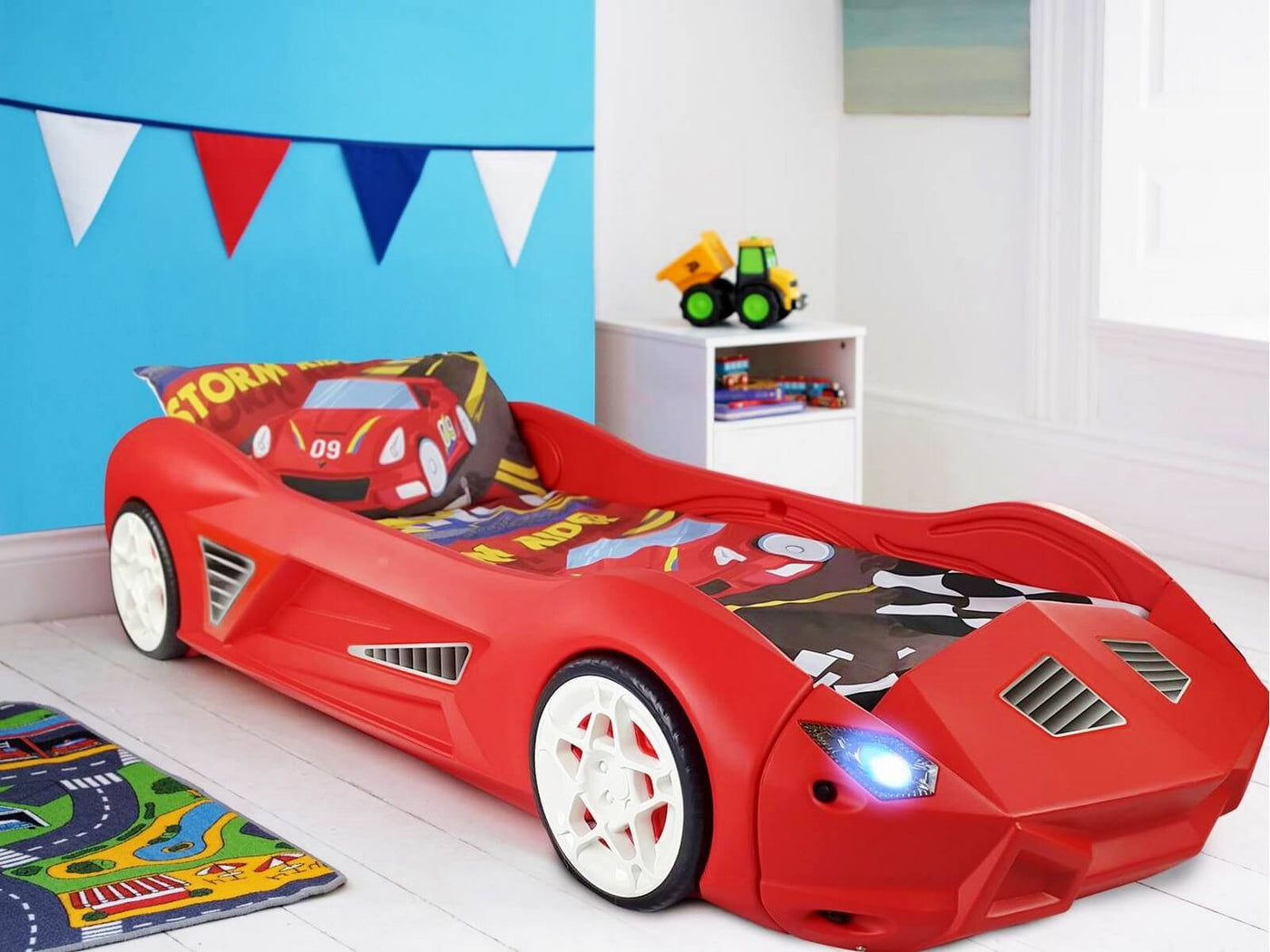 huge discount 503ed e7ea9 Storm Kids Toddler Racing Car Bed With Lights and Sounds
