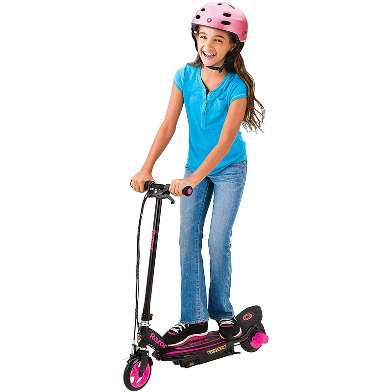 Razor Power Core E90 Electric Scooter - Pink child riding