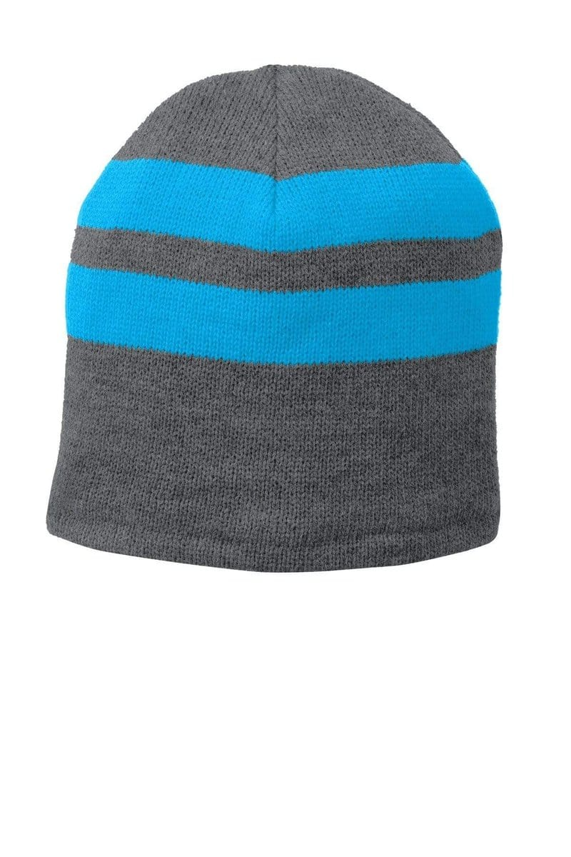 Port & Company® Fleece-Lined Striped Beanie Cap. C922-Caps-Bulkthreads.com, Wholesale T-Shirts and Tanks