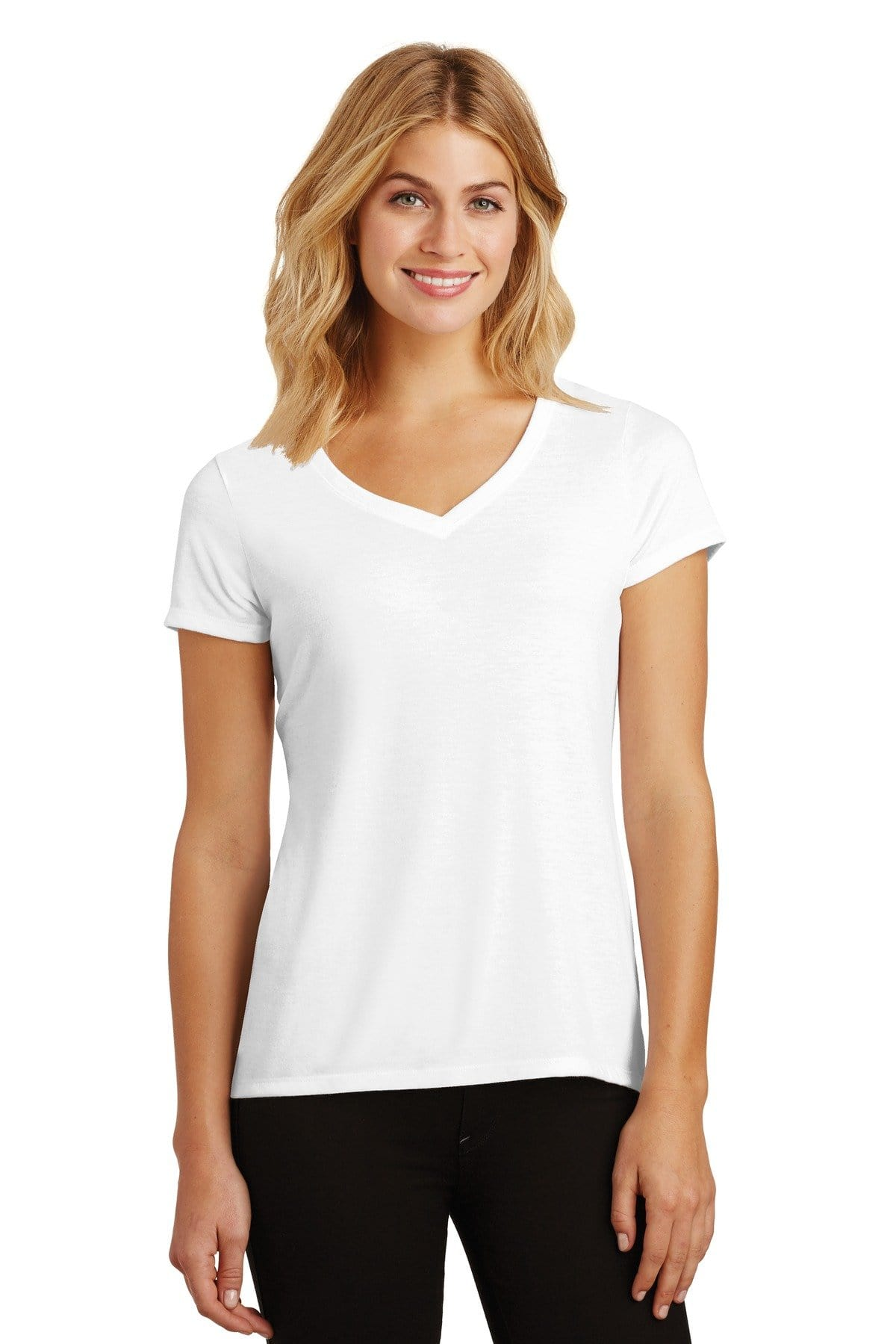 District ® Women's Perfect Tri ® V-Neck Tee. DM1350L-Ladies-wholesale apparel