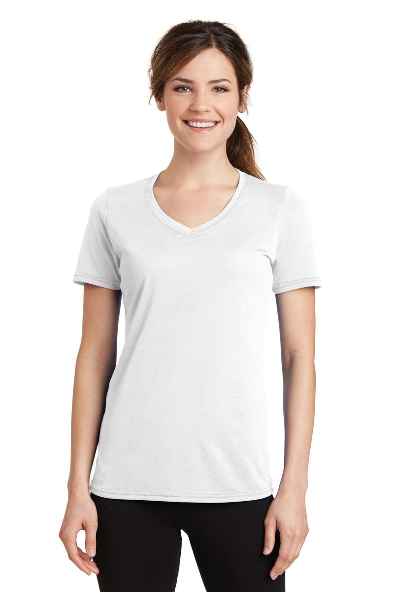 Port & Company ® Ladies Performance Blend V-Neck Tee. LPC381V, Traditional Colors-Ladies-wholesale apparel