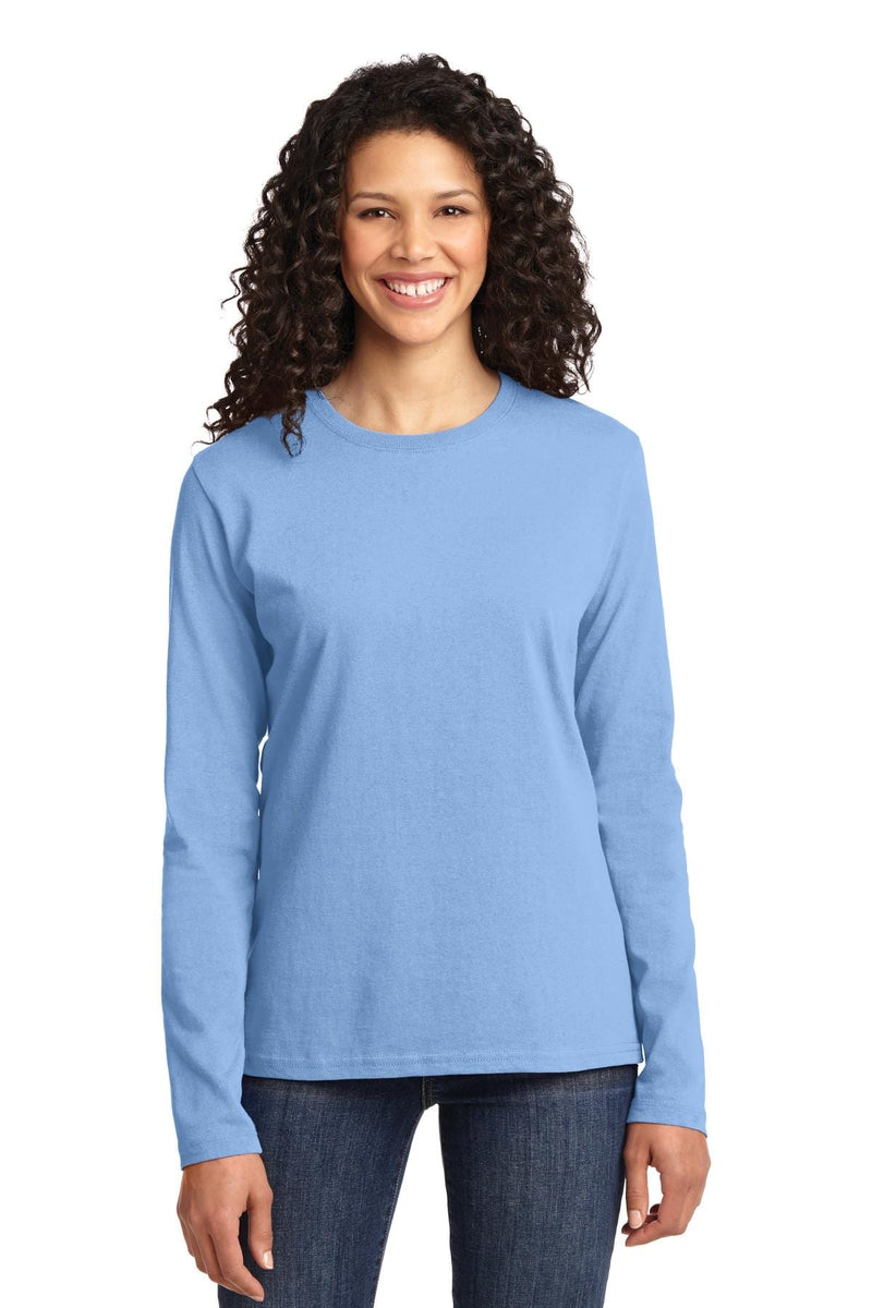 Port & Company ® Ladies Long Sleeve Core Cotton Tee. LPC54LS, Basic Colors-Ladies-wholesale apparel