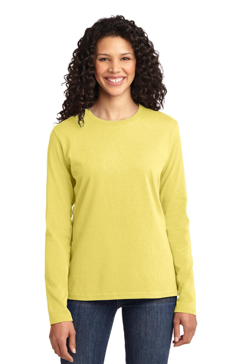 Port & Company ® Ladies Long Sleeve Core Cotton Tee. LPC54LS, Traditional Colors-Ladies-wholesale apparel