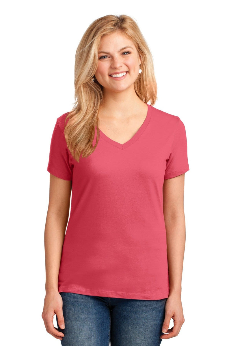 Port & Company ® Ladies Core Cotton V-Neck Tee. LPC54V, Traditional Colors-Ladies-wholesale apparel