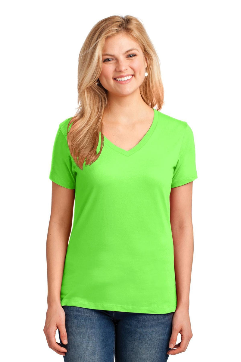 Port & Company ® Ladies Core Cotton V-Neck Tee. LPC54V, Basic Colors-Ladies-wholesale apparel