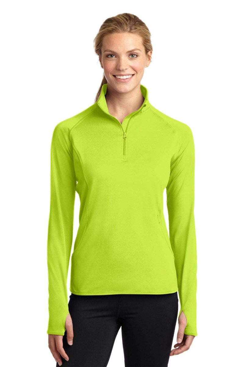 Sport-Tek ® Ladies Sport-Wick ® Stretch 1/2-Zip Pullover. LST850, Extended Colors-Activewear-wholesale apparel