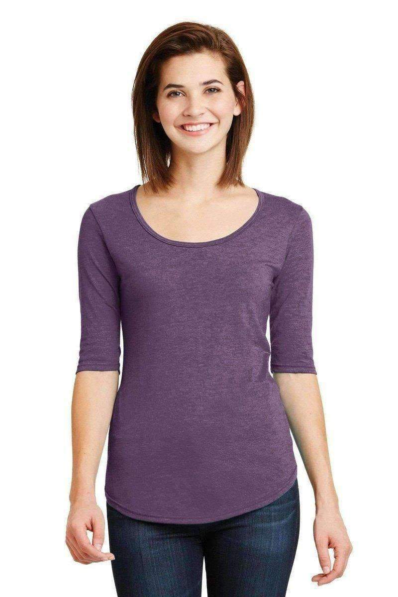 Anvil 6756L: Ladies Deep Scoop, 1/2-Sleeve Tee-Ladies T-Shirt-Anvil-Heather Aubergine-XS-wholesale t shirts -Bulkthreads.com