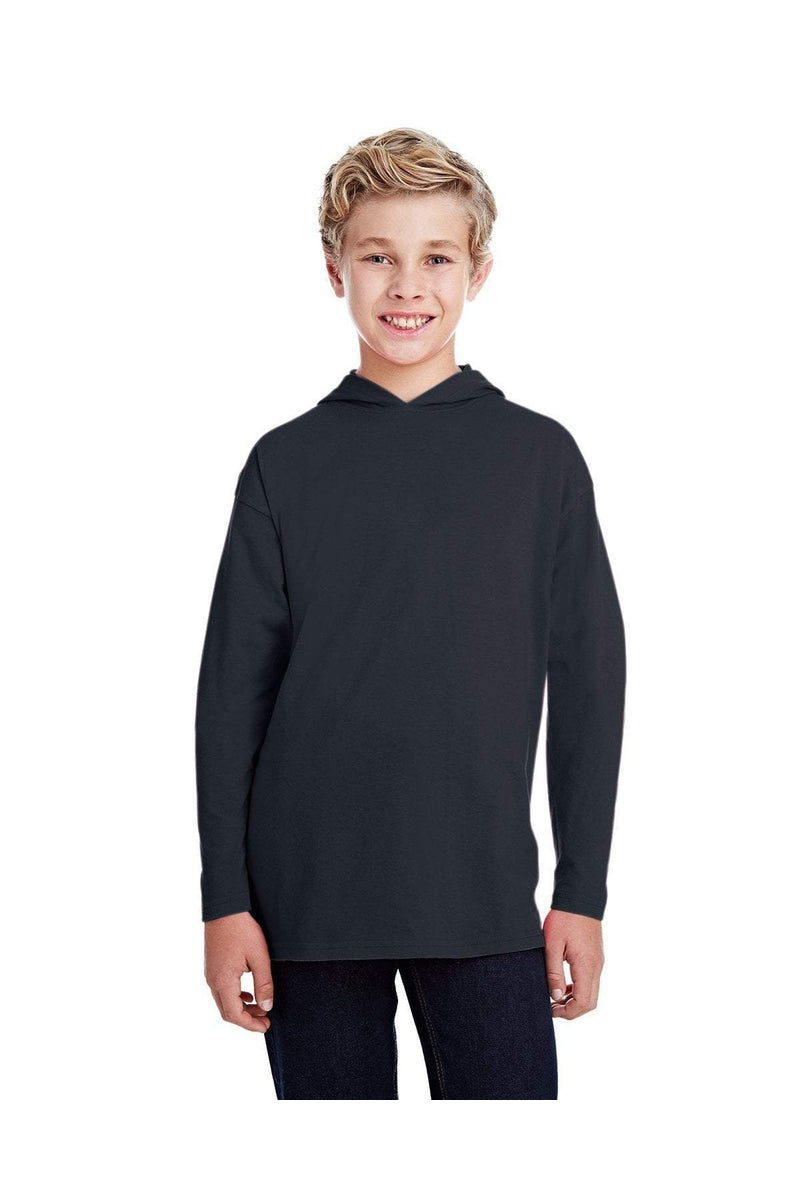 Anvil 987B: Youth Long-Sleeve Hooded T-Shirt-T-Shirts-Bulkthreads.com, Wholesale T-Shirts and Tanks